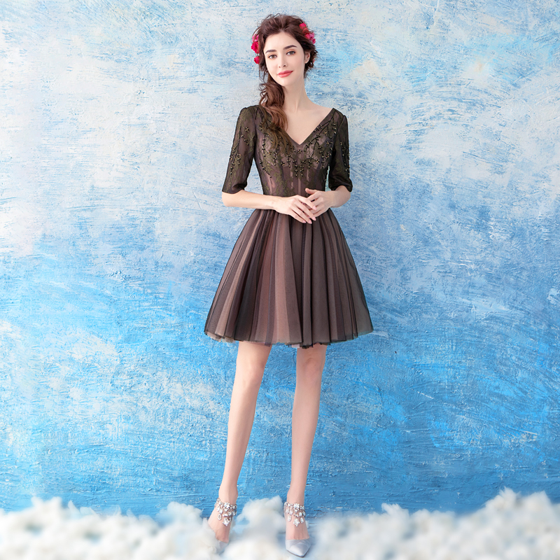 9e2d4bd2b Half Sleeves Black Short Homecoming Dressknee Length Vestidos Para  Graduacion Cortos Vestido Graduacion Special Occasion Dress-in Homecoming  Dresses from ...