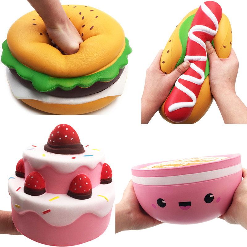 2019 Best Hot Selling Giant Squishy Strawberry Cake Hamburger Hotdog Bowl Food Squishies Home Furnishings Pretend Play Toy