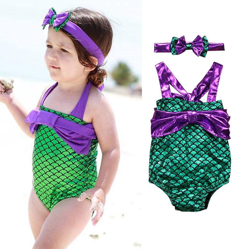 Summer Newborn Toddled Kids Baby Girls Mermaid Swimwear Costume Bikini Swimsuit Beachwear+headband 2018 New Baby Girls Clothes