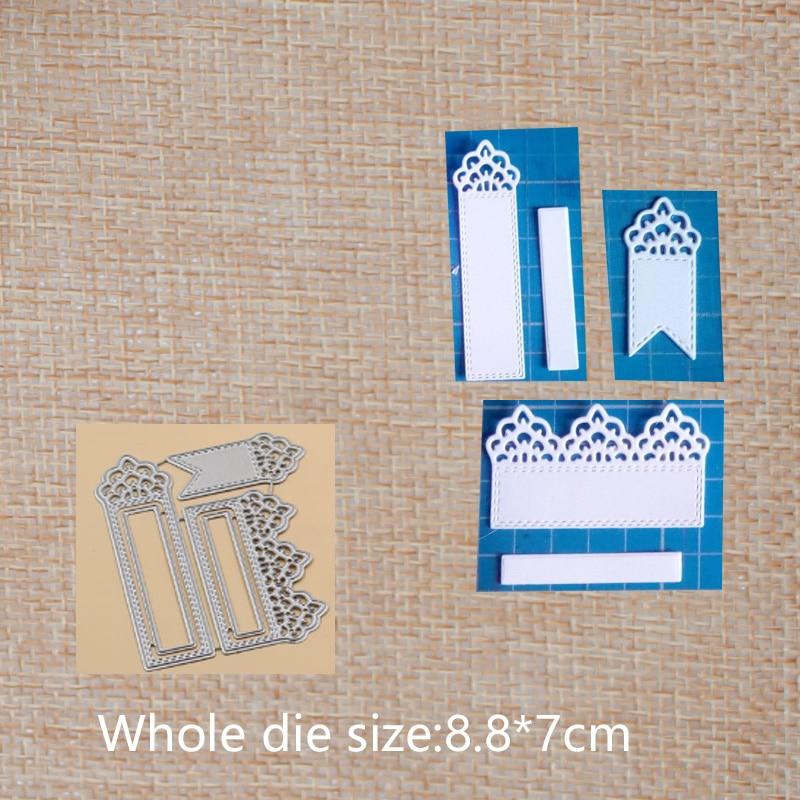 3pcs Lace bookmark Metal Cutting Dies  for DIY Scrapbook Photo Album Paper Card Decorative Craft Embossing Die 88*70 mm