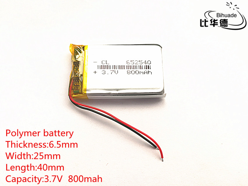 Free shipping 5pcs/lot small capacity rechargeable li-ion batteries 3.7v 800mah <font><b>652540</b></font> for toys LJ Driving recorder image