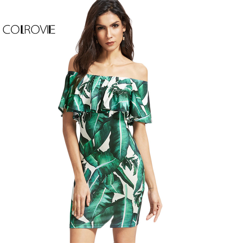 Colrovie hombro summer dress mujeres verde tropical imprimir sexy beach bodycon