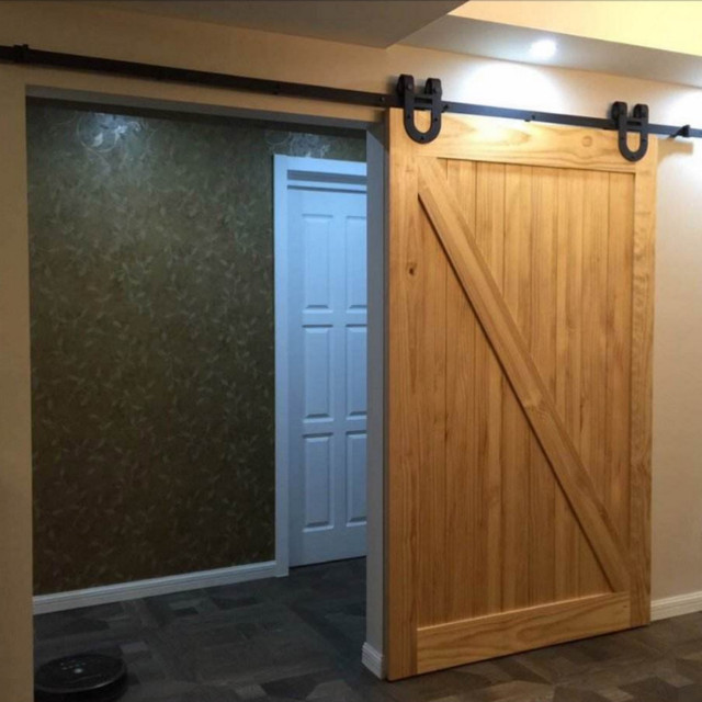 (Free shipping) 4ft/5ft/5.6ft/6ft/6.6ft/8ft Black Antique Horseshoe Barn  Wood Sliding Doors Hardware Interior Track Kit Set New-in Doors from Home  ... - US $69.33 |(Free Shipping) 4ft/5ft/5.6ft/6ft/6.6ft/8ft Black Antique  Horseshoe Barn Wood Sliding Doors Hardware Interior Track Kit Set New-in  Doors