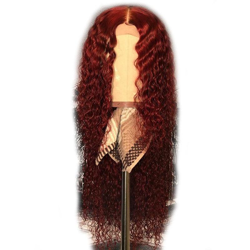 13x6 Rot 99j Spitze Front Menschliches Haar Perücken Burgund Farbige Menschenhaar Lockige Perücken Tiefe Mittelteil Teil Brasilianische Spitze Front Remy Perücken