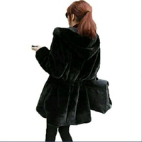 SMFOLW 2017 New Women Faux Fur Coat High Quality Both Sides Wear Large Imitated Mink Hoodier
