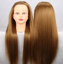 цена на CAMMITEVER 20 inch Gold Hair Hairdressing Cutting Practice Training Model Mannequin Head for Female