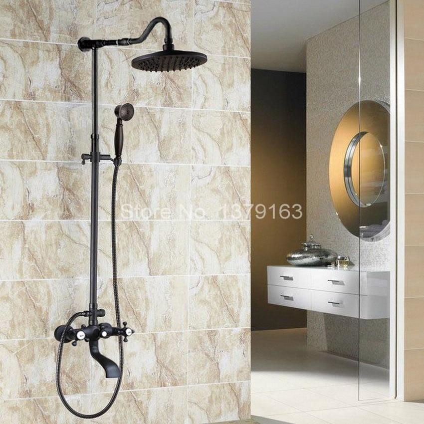 Brass Black Oil Rubbed Bronze Bathroom 8 Inch Rain Shower Bathtub Shower Mixer Tap Faucet Dual Cross Handle Wall Mounted ahg605
