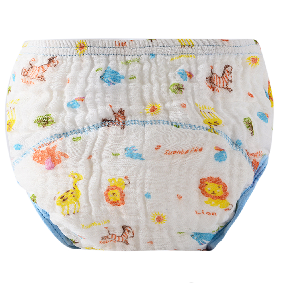 Baby Wash Gauze Anti-side Leakage Cloth Diaper Baby Cartoon Lion Printing Learning Pants Washable Diapers Suit 0-12M
