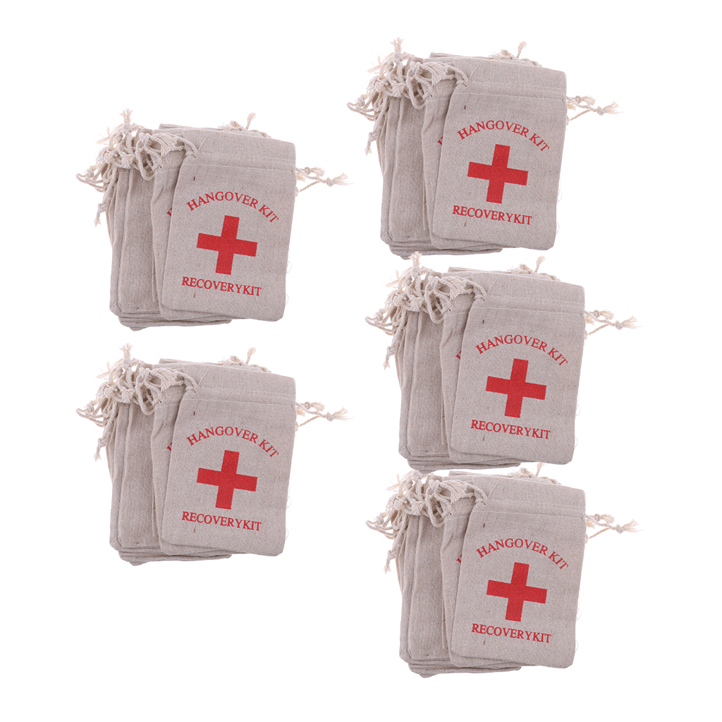 Image 5 - Pieces of 50 Recovery Hangover Kit Bags Hens Party First Aid Bag Muslin Favor Bag 13x9 cm-in Gift Bags & Wrapping Supplies from Home & Garden