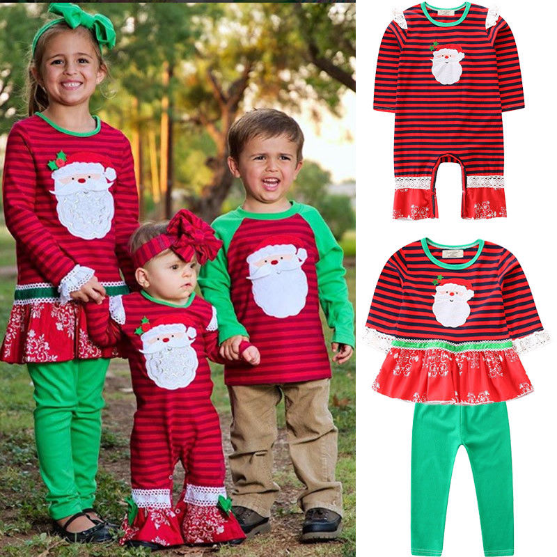 Little Sister Big Sister Matching Christmas Outfit ... - Little Sister Big Sister Matching Christmas Santa Claus Dresses Outfit