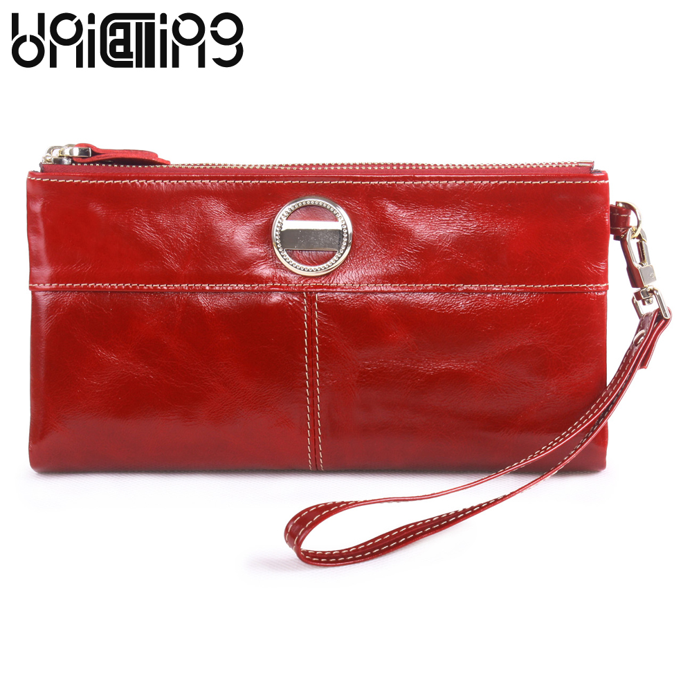New style Genuine Leather wallet women wrist strap mini Oil Wax Cowhide Large capacity clutch bag women Double Zipper Lady Purse dollar price new european and american ultra thin leather purse large zip clutch oil wax leather wallet portefeuille femme cuir