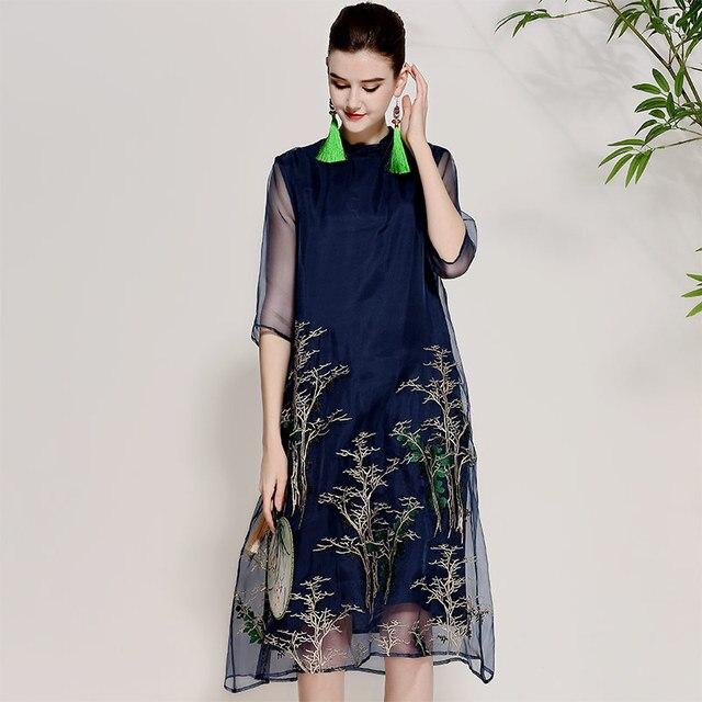 9065b87df48f4fd Для женщин Красивые платья летние винтажные королевская вышивка цветочный  элегантные женские большие размеры синий шелковой органзы