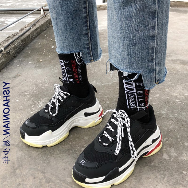 Spring Chunky Sneakers Women 2019 Leather Mesh Platform Dad Sneakers Vulcanize Shoes Woman Trainers Basket Chaussures Femme