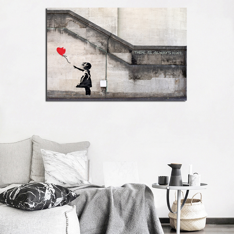 Banksy There is Always Hope Canvas Painting Print Living Room Home Decoration Modern Wall Art Oil Painting Poster Salon Pictures in Painting Calligraphy from Home Garden