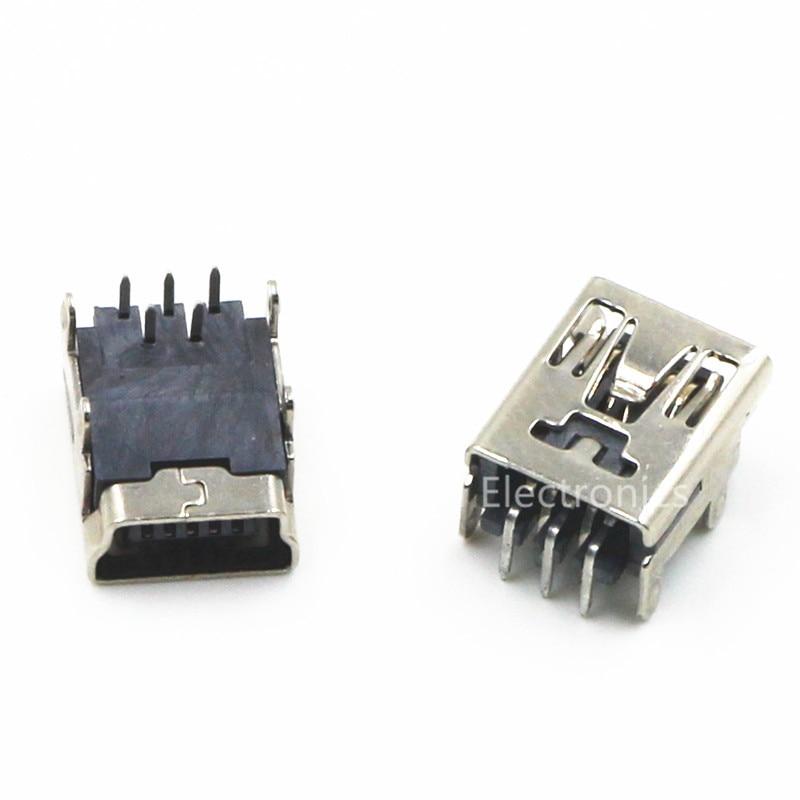 10pcs Micro USB Connector Mini USB 90 Degree Bend Pin Female (mini-USB) USB socket 5PF diy mini usb 5 pin female 180 degree dip socket connector silver 10 piece pack