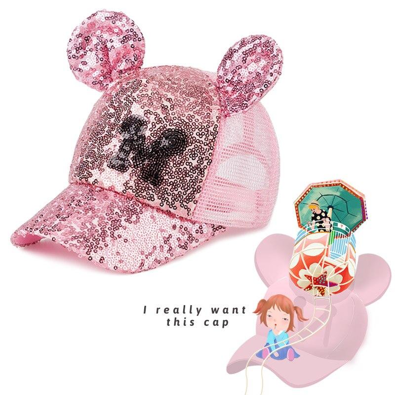 284fda4d616dc Mode Sequin bébé casquettes de Baseball pour fille garçon enfants Snapback maille  chapeau avec oreille mignon