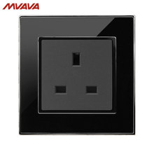 MVAVA 13A Socket Electrical Wall Receptacle 3 Pin Outlets AC 110V-250V UK Standard Plug Luxury Mirror Black Panel Free Shipping wallpad luxury universal socket goats brown leather frame ac 110v 250v 5 pin universal wall socket outlet free shipping