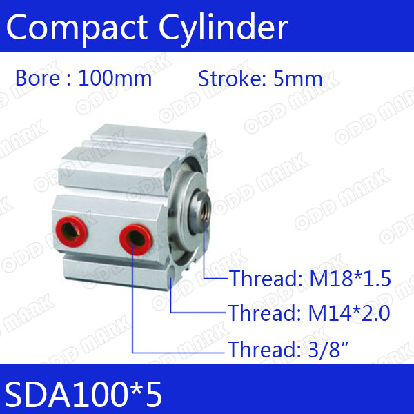 SDA100*5 Free shipping 100mm Bore 5mm Stroke Compact Air Cylinders SDA100X5 Dual Action Air Pneumatic Cylinder sda100 5 s free shipping 100mm bore 5mm stroke compact air cylinders sda100x5 s dual action air pneumatic cylinder
