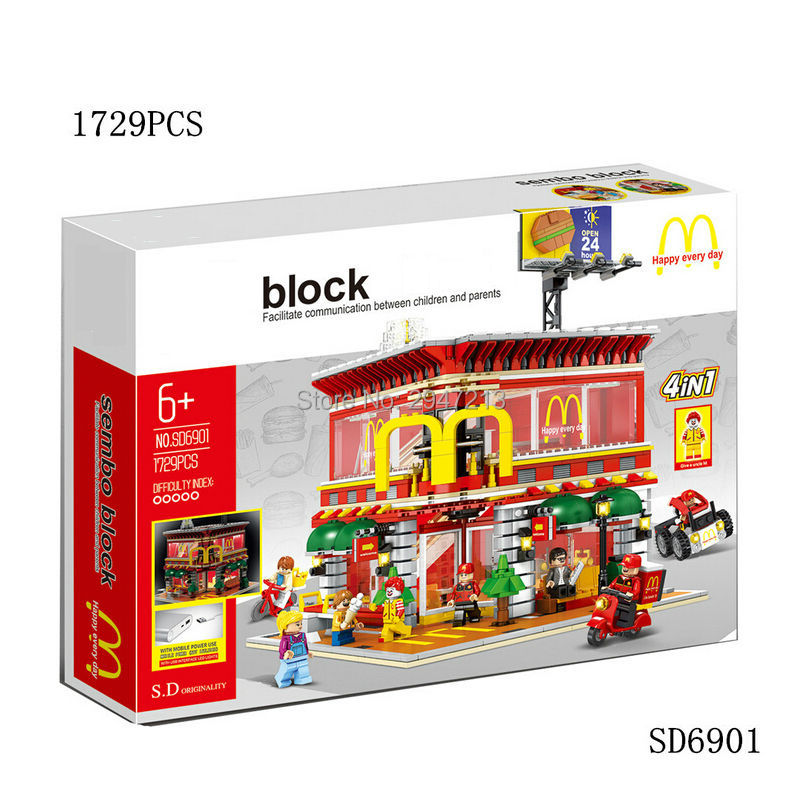 hot sembo block compatible lepin city mini Street View Building blocks McDonald's belt LED lighting with figures brick toys gift lepin 02012 city deepwater exploration vessel 60095 building blocks policeman toys children compatible with lego gift kid sets