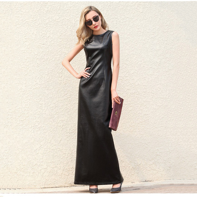 US $49.99 |WBCTW Faux Leather Dress 2018 Summer Sleeveless Back Open Slide  Casual Woman Dress 6XL 7XL Plus Size Long PU Party Dress-in Dresses from ...