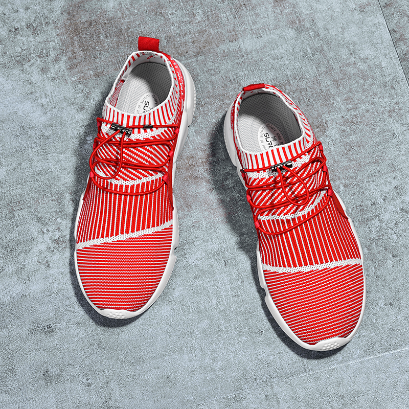SUROM Men Shoes Casual Weaving Fly Mesh Breathable Shoes Super Light Soft Black Mens Shoe Male Trainers Sneakers Human Race недорого