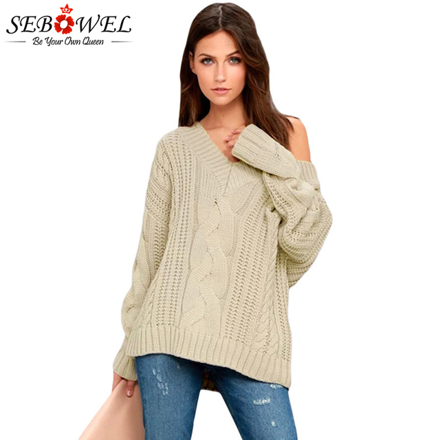 85bfcd6f6 SEBOWEL Sweater Women Pullover Knitted Sweater Jumper 2018 Winter Female  Plus Size Khaki Cable Knit Sweater Lady Knitwear Coat