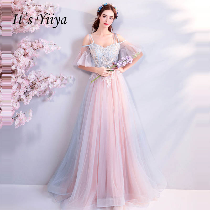 It's Yiiya Evening Dresses Flowers Off Shoulder Backless Lace Up Beading Luxury Sex Party Gown Evening Gowns Prom Dresses LX795