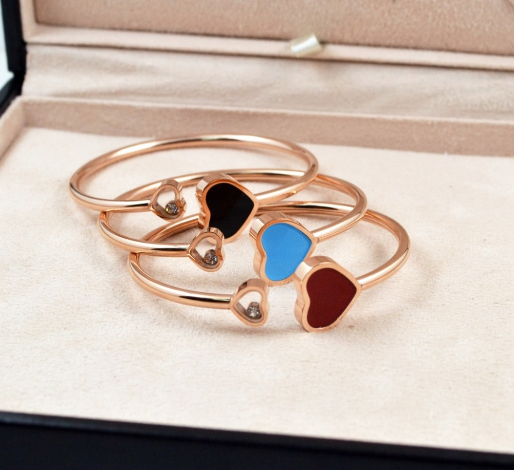 New Arrival High Quality Gift Jewelry Classic Rose gold color Titanium Steel Women Shell Double hearts Bangle/Bracelet