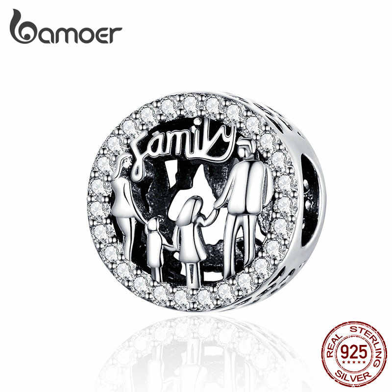BAMOER Family of Four Round Metal Beads 925 Sterling Silver Charms fit Bangles & Bracelets Women Fashion Jewelry SCC1184