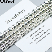 WLYeeS Faceted Round natural Hematite stone plating Silver Ball 2 4 5 6 8 10mm Loose beads for jewelry Necklace bracelet Making
