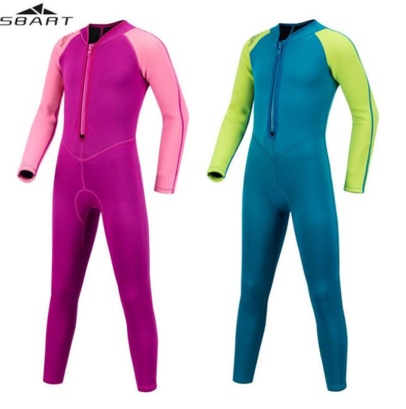 SBART 2MM Neoprene Kids Diving Suits Wetsuits Boys Girls Scuba Snorkeling Bodysuits Surfing One Pieces Long Sleeves in Wetsuit from Sports Entertainment