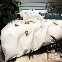 White Green Simple Style Pineapple Embroidery 60S Egypt Cotton Bedding Set Duvet cover Bed Sheet Pillowcase Queen King size