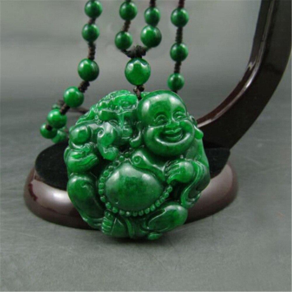 Handmade Natural Jadeite Maitreya Buddha Jade Pendant Genuine Dried Green Iron Dragon laughing Buddha Pendant Necklace Wholesale-in Pendants from Jewelry & Accessories