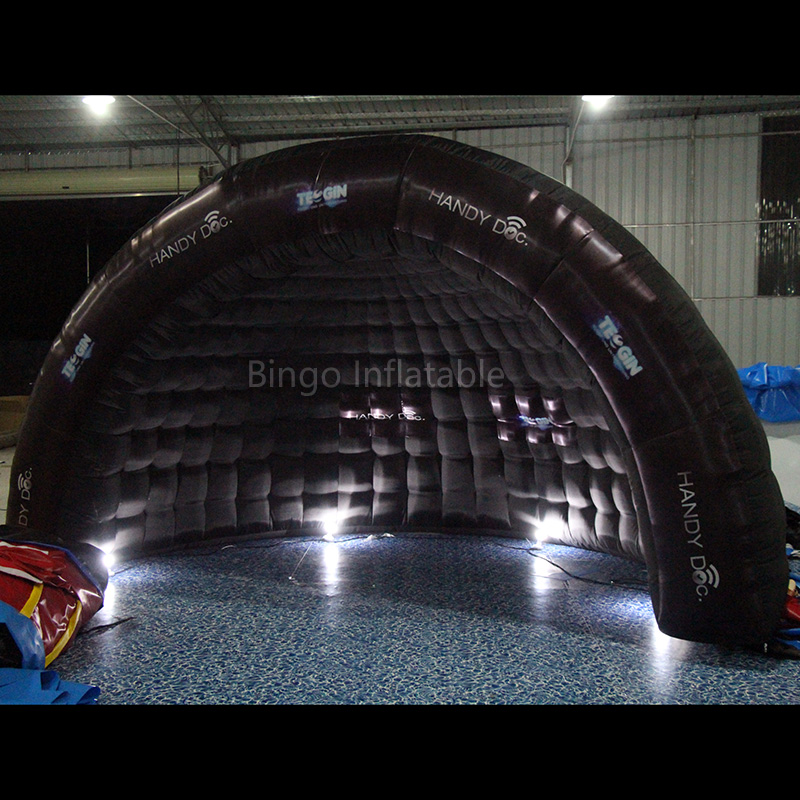 Free shipping 5X2.5X3 meters Inflatable half dome tent LED lighting all black Blow up tent with blower toy tentsFree shipping 5X2.5X3 meters Inflatable half dome tent LED lighting all black Blow up tent with blower toy tents