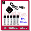 5pcs V911 Battery and USB Charger for V911 Helicopter parts