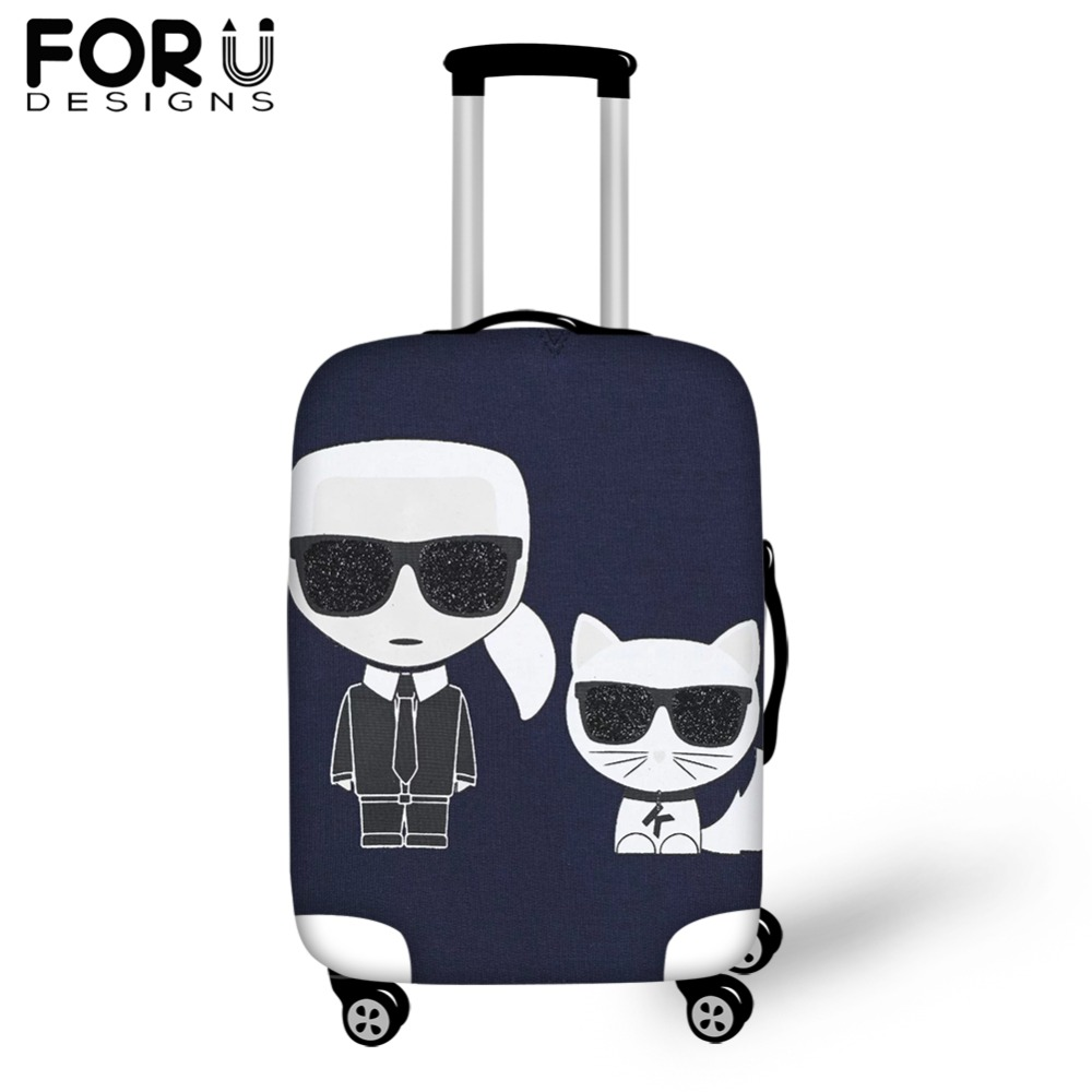 FORUDESIG Waterproof Luggage Covers Fashion Karl Lagerfelds Printed Travel Suitcase Cover for 18/20/22/24/26/28/30inch Cases