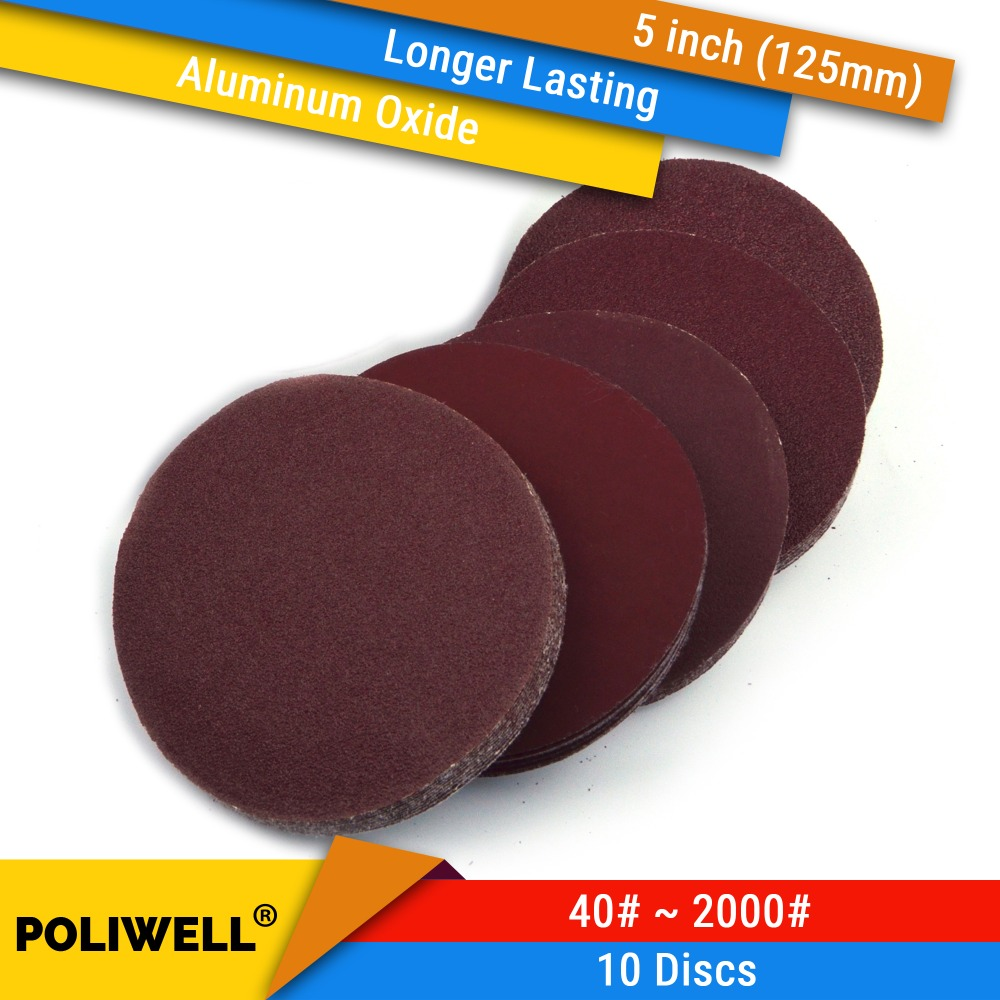 10PCS 5 Inch 125mm Aluminum Oxide Flocking Red Dry Sanding Discs 40-2000 Grit Polishing Paper Dremel Sander Tools Accessories