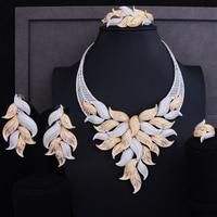 GODKI Luxury Leaf Cubic Zircon Necklace Earring Set Dubai Nigerian Wedding jewelry sets For Women african beads jewelry set 2018