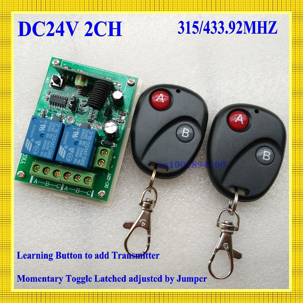 24V DC 2CH  10A Relay Wireless Remote Control Switch Receiver Transmitter Learning 315/433 Normally Open/Closed Door Access LED remote control switches dc 12v 2ch receiver long range remote control transmitter 50 1000m 315 433 rx tx 2ch relay learning code
