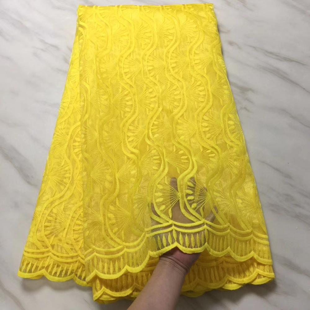 Free shipping Africa Swiss lace fabric yarn of high quality yellow fashion wedding 5 yards French lace fabrics(6-19Free shipping Africa Swiss lace fabric yarn of high quality yellow fashion wedding 5 yards French lace fabrics(6-19