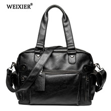 WEIXIER Brand Business Classic Original PU leather men shoulder messenger 2019 male briefcase man bag for  computer