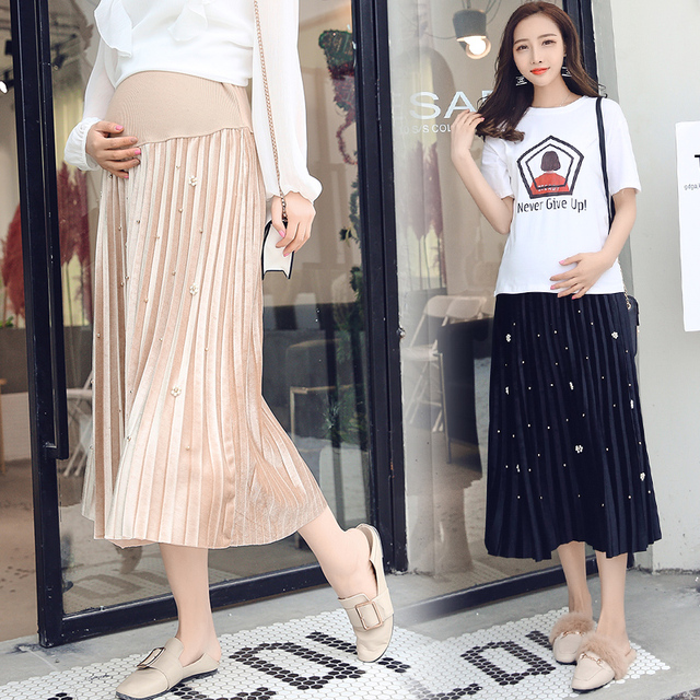 5dec4993409e6 2018 Spring Summer Korean Fashion Maternity Skirts Beading Pleated Belly  Skirts Clothes for Pregnant Women Pregnancy Skirt