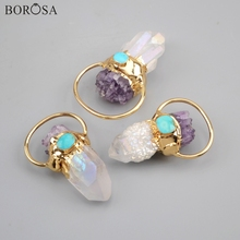 BOROSA 3PCS New Gild White AB Crystal Quartz Point With Amethysts Chips & natural Turquoises Boho Pendants women Necklace G1806