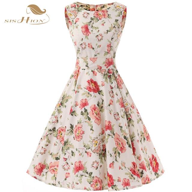 018dbeacd2777 SISHION 2018 Sleeveless Women Summer Dress Plus Size 50s 60s Floral Robe Retro  Swing Casual Vintage Rockabilly Dresses VD0112
