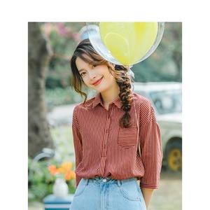 Image 3 - インマン夏ターンダウン襟レトロストライプ韓国ファッション文学すべて一致したハーフスリーブ女性のシャツ