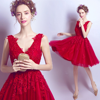 2017 new arrival stock maternity plus size bridal gown pregnant evening dress lace short knee lengh deep v neck red 2859