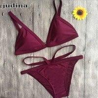 Judina Bikini 2016 Green Basic Models Burgundy Dark Brown Army Sexy Minimalist Style Women Swimsuit Bikini