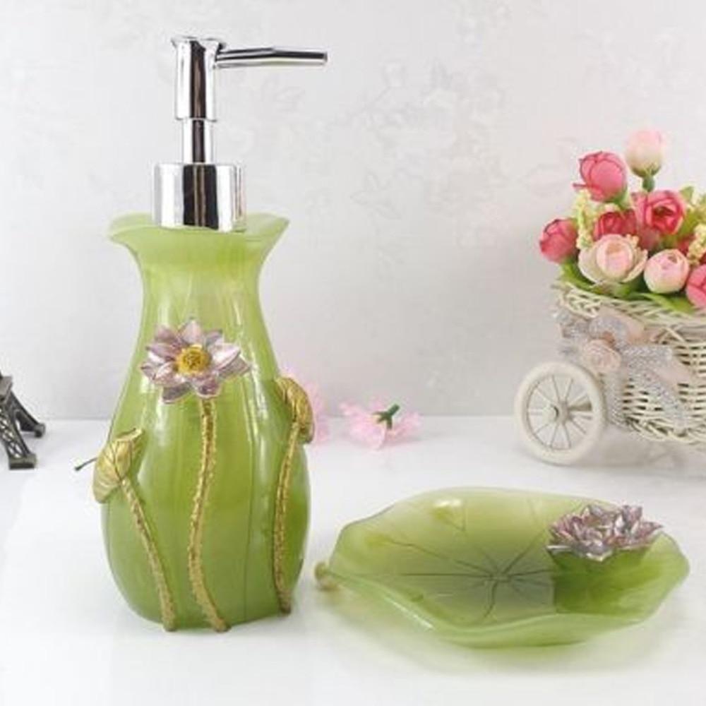 Green Color Bathroom Set 5 Pieces Set of Bath Wedding Gift Supplies ...