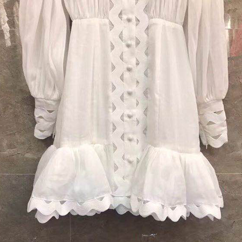 TWOTWINSTYLE Bodycon Dress Female Lantern Long Sleeve High Waist Hollow Out Ruffle Hem Shirt Dresses Women 19 Autumn Fashion 12