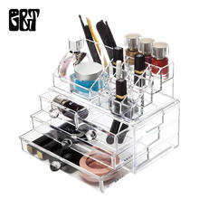 GT Acrylic Transparent Makeup Organizer Storage Box Nail Polish Rack Lipstick Cosmetic Storage Box Bedroom Jewelry Case Box(China)